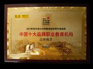 """正保育才被评为""""中国十大品牌职业教育机构"""""""